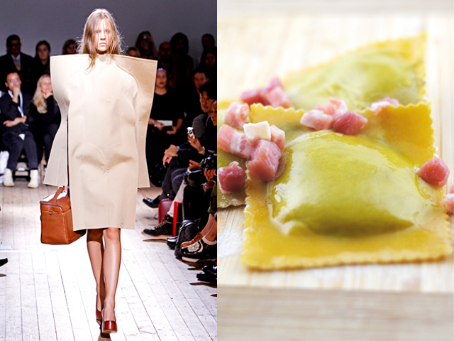 Taste of Runway presenta: Maison Martin Margiela - ravioli ripieni alle erbe accompagnati da bacon