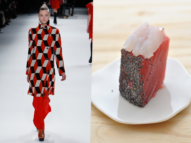 Taste of Runway presenta: Issey Miyake - sashimi di tonno, ricciola e semi di papavero con condimento al sesamo
