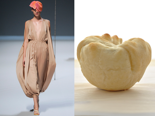 taste of Runway presents: Issey Miyake - puff pastry bundles filled with brie cheese and vegetables