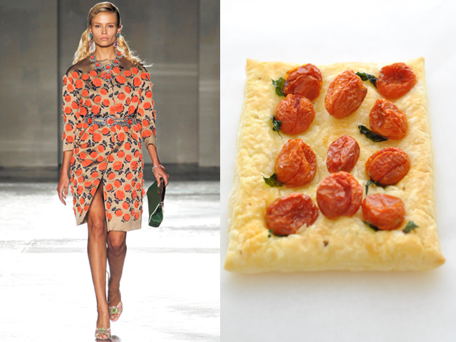 Taste of Runway presenta: Prada - focaccia di pasta sfoglia con pomodorini e basilico